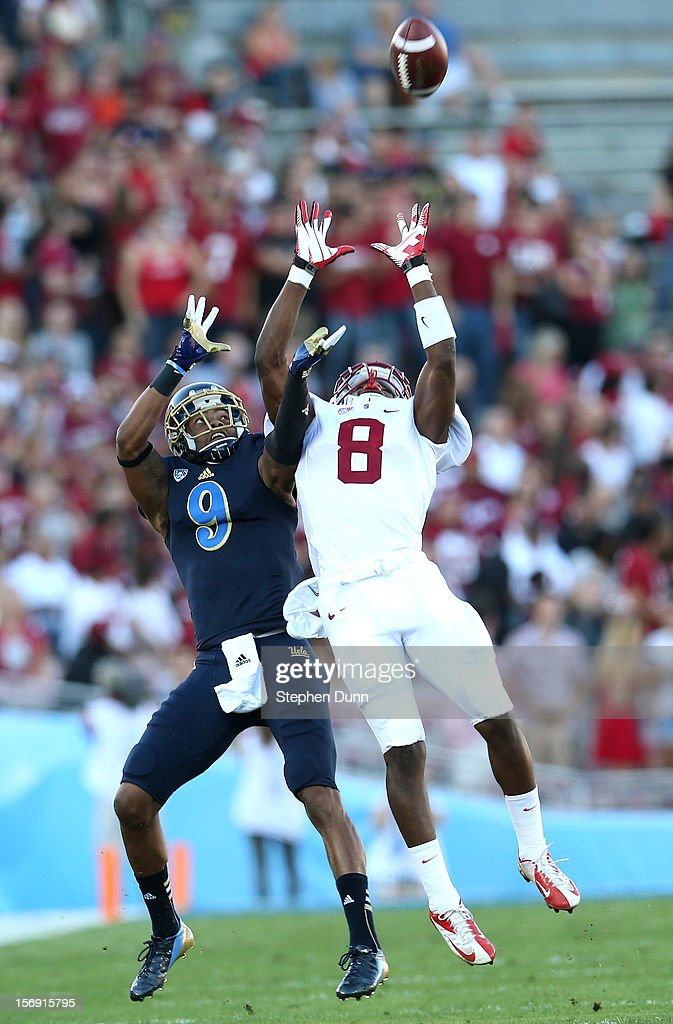 Safety Jordan Richards #8 of the Stanford Cardinal breaks up a pass intended for wide receiver Jerry Johnson #9 of the UCLA Bruins at the Rose Bowl on October 13, 2012 in Pasadena, California. Stanford won 35-17.