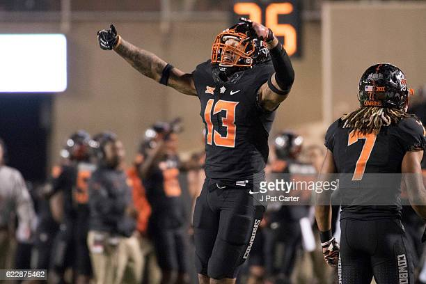 Safety Jordan Sterns of the Oklahoma State Cowboys celebrates after Texas Tech missed an extra point kick during the second half of a NCAA football...