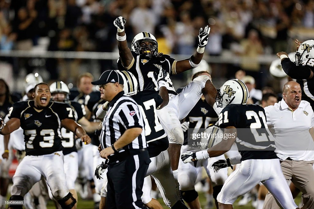 Safety Kemal Ishmael #18 of the Central Florida Knights celebrates his interception in overtime against the Southern Mississippi Golden Eagles at Bright House Networks Stadium on October 13, 2012 in Orlando, Florida.