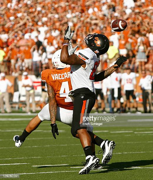 Safety Kenny Vaccaro of the Texas Longhorns breaks up a pass in the third quarter intended for wide receiver Tracy Moore of the Oklahoma State...