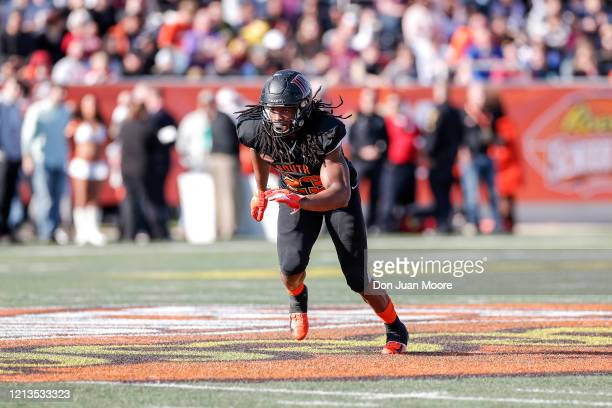 Safety Kyle Dugger from Lenoir Rhyne of the South Team during the 2020 Resse's Senior Bowl at LaddPeebles Stadium on January 25 2020 in Mobile...