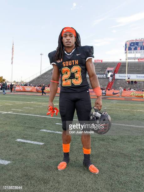 Safety Kyle Dugger from Lenoir Rhyne of the South Team pose after the 2020 Resse's Senior Bowl at LaddPeebles Stadium on January 25 2020 in Mobile...
