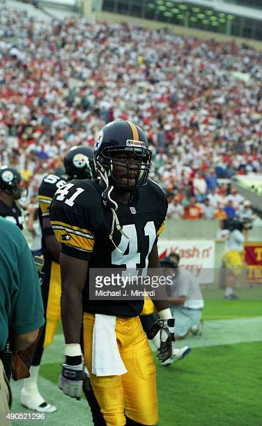 Safety Lathon Flowers of the Pittsburgh Steelers comes onto the field at Tampa Stadium for a NFL game against the Tampa Bay Buccaneers on August 19...