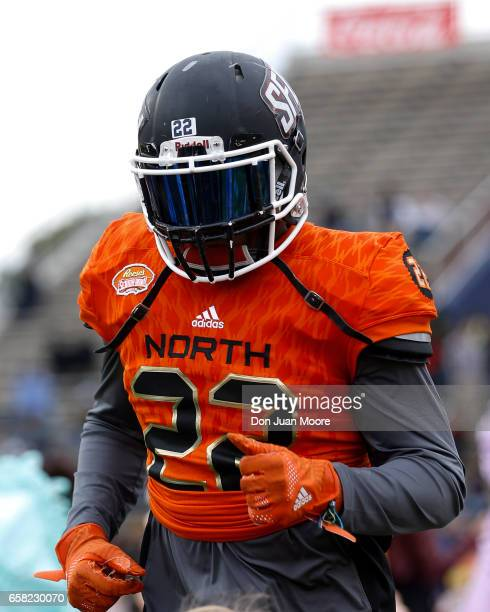 Safety Lorenzo Jerome from Saint Francis of the North Team during the 2017 Resse's Senior Bowl at LaddPeebles Stadium on January 28 2017 in Mobile...