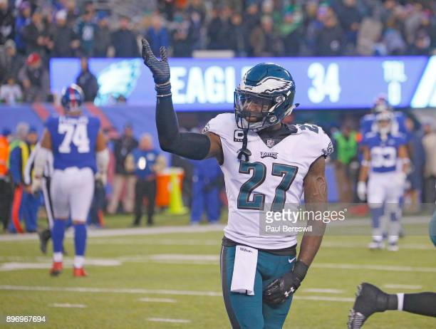 Safety Malcolm Jenkins of the Philadelphia Eagles celebrates stopping the Giants drive late in the fourth quarter in an NFL football game against the...