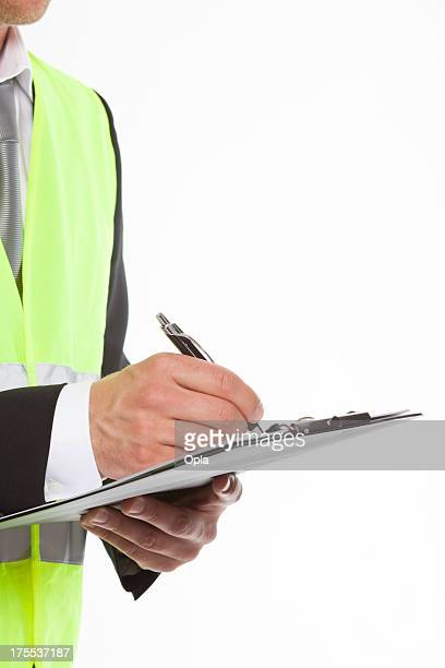 Safety man with note pad