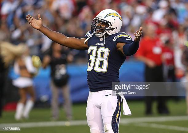 Safety Marcus Gilchrest of the San Diego Chargers celebrates after the Chargers defense stopped the Kansas City Chiefs on fourth down in overtime to...