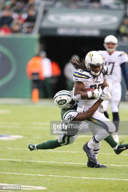 Safety Marcus Maye of the New York Jets in action against the Los Angeles Chargers in an NFL game at MetLife Stadium on December 24 2017 in East...