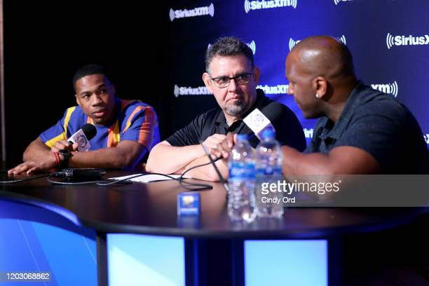NFL safety Marcus Williams of the New Orleans Saints SiriusXM host Alex Marvez and SiriusXM host Kirk Morrison speak onstage during day 2 of SiriusXM...