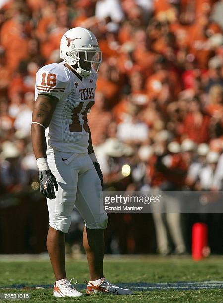 Safety Matt Melton of the Texas Longhorns stands on the field during the Red River Shootout against the Oklahoma Sooners at the Cotton Bowl on...