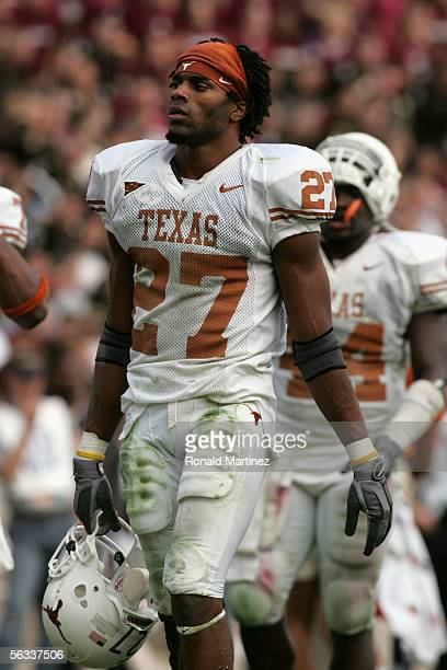 Safety Michael Griffin of the Texas Longhorns looks on against the Texas AM Aggies at Kyle Field on November 25 2005 in College Station Texas The...