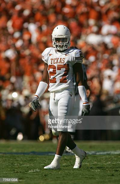 Safety Michael Griffin of the Texas Longhorns walks on the field during the Red River Shootout against the Oklahoma Sooners at the Cotton Bowl on...