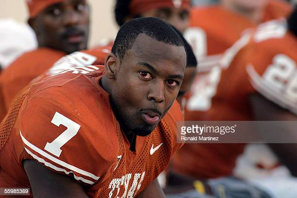 Safety Michael Huff of the Texas Longhorns wears performanceenhancing contact lenses during the game against the Texas Tech Red Raiders on October 22...