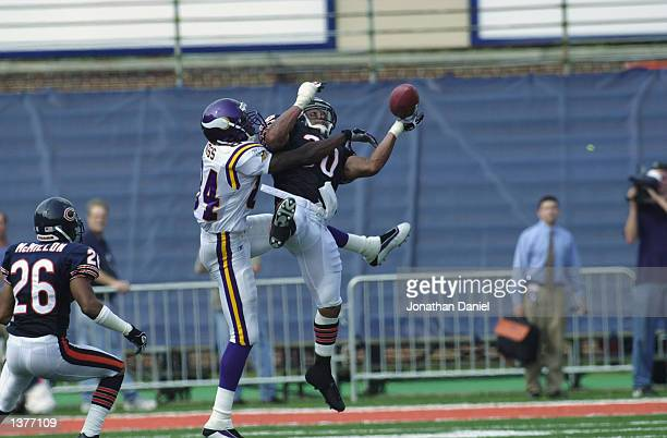 Safety Mike Brown of the Chicago Bears breaks up a long pass intended for receiver Randy Moss of the Minnesota Vikings late in the game on September...