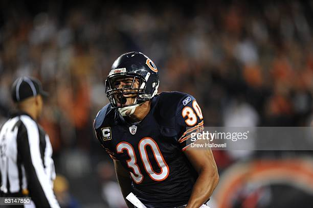 Safety Mike Brown of the Chicago Bears celebrates during the game against the Philadelphia Eagles on September 28 2008 at Soldier Field Field in...