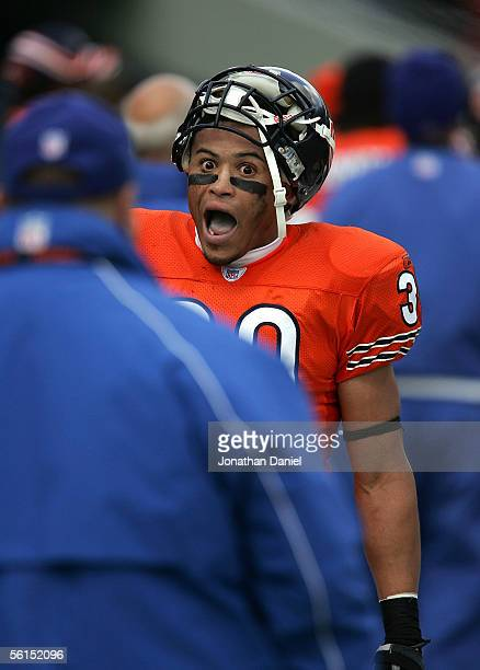 Safety Mike Brown of the Chicago Bears reacts to teammate Nathan Vasher's NFL record 108 yard missed field goal return for a touchdown against the...