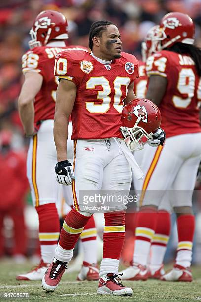 Safety Mike Brown of the Kansas City Chiefs during a timeout on the field against the Buffalo Bills at Arrowhead Stadium on December 13 2009 Kansas...