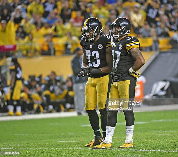 Safety Mike Mitchell and safety Jordan Dangerfield of the Pittsburgh Steelers look on from the field during a game against the Kansas City Chiefs at...