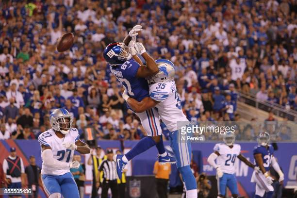 Safety Miles Killebrew of the Detroit Lions breaks up a pass against the New York Giants on September 18, 2017 at MetLife Stadium in East Rutherford,...