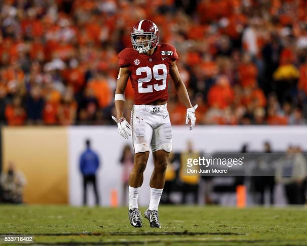 Safety Minkah Fitzpatrick of the Alabama Crimson Tide during the 2017 College Football Playoff National Championship Game against the Clemson Tigers...