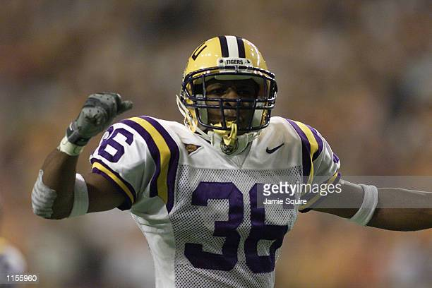 Safety Norman LeJeune of the LSU Tigers celebrates during the Southeastern Conference Championship Game against the Tennessee Volunteers on December...