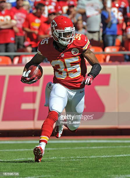 Safety Quintin Demps of the Kansas City Chiefs returns a kick-off against the New York Giants during the first half on September 29, 2013 at...