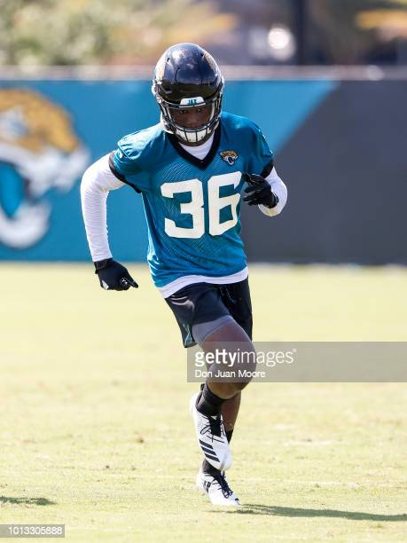 Safety Ronnie Harrison of the Jacksonville Jaguars works out during Training Camp at Dream Finders Homes Practice Complex on July 27 2018 in...
