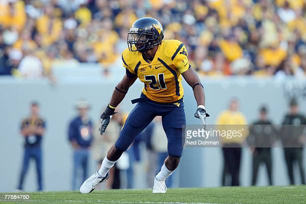 Safety Ryan Mundy of the West Virginia University Mountaineers defends against the Mississippi State Bulldogs on October 20 2007 at Milan Puskar...