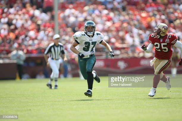 Safety Sean Considine of the Philadelphia Eagles runs up field during the game against the San Francisco 49ers on September 24, 2006 at Monster Park...