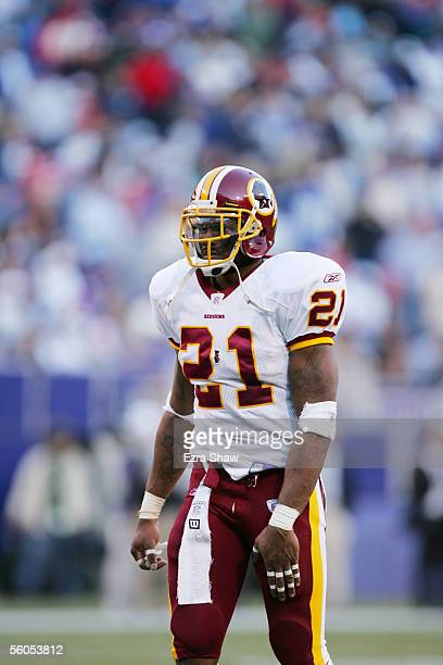 Safety Sean Taylor of the Washington Redskins looks on against the New York Giants at Giants Stadium on October 30 2005 in East Rutherford New Jersey...
