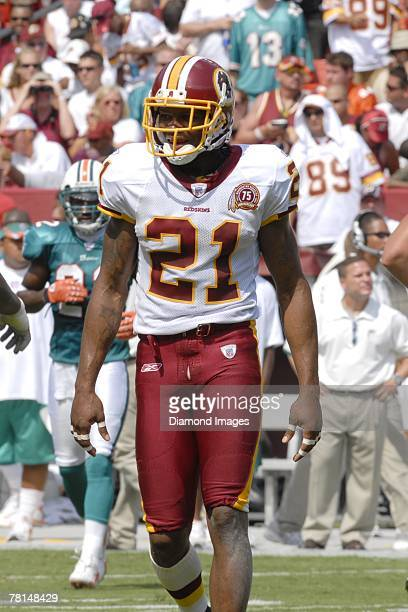 Safety Sean Taylor of the Wshington Redskins walks towards trhe bench after the Redskins' defense stopped the Miami Dolphins offense during a game on...