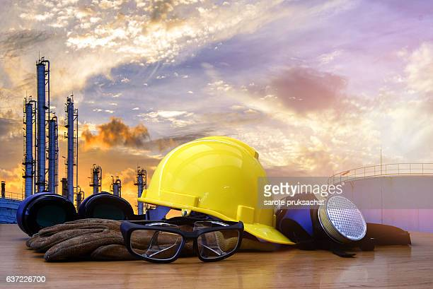 safety standard set  on working table ,Construction concept.