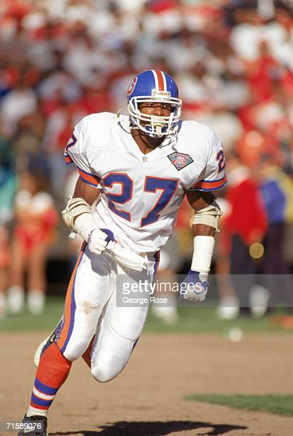 Safety Steve Atwater of the Denver Broncos runs on the field during a pre season game against the San Francisco 49ers at Candlestick Park on August...