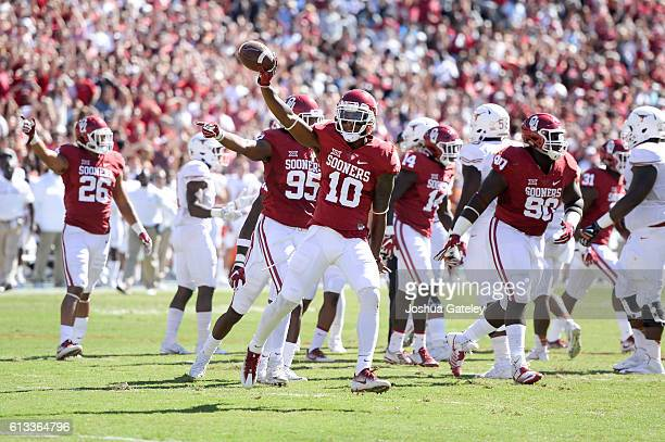 Safety Steven Parker of the Oklahoma Sooners celebrates a fumble recovery in their game against the Texas Longhorns at Cotton Bowl on October 8 2016...