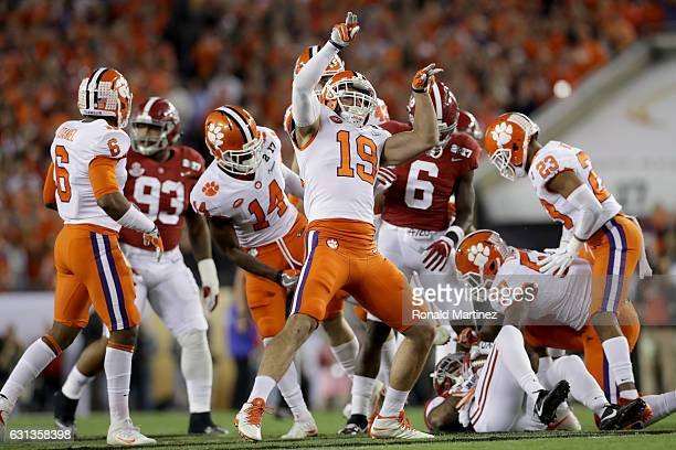 Safety Tanner Muse of the Clemson Tigers celebrates after making a tackle on the opening kick against the Alabama Crimson Tide in the 2017 College...