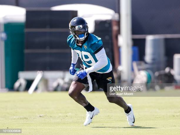 Safety Tashaun Gipson Sr #39 of the Jacksonville Jaguars works out during Training Camp at Dream Finders Homes Practice Complex on July 27 2018 in...