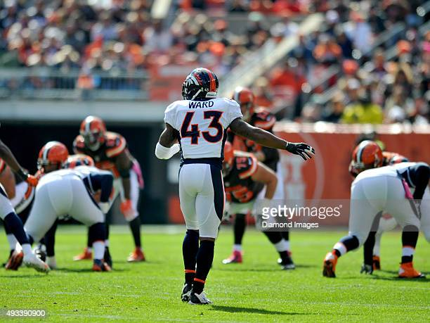 Safety TJ Ward of the Denver Broncos awaits the snap during a game against the Cleveland Browns on October 18 2015 at FirstEnergy Stadium in...
