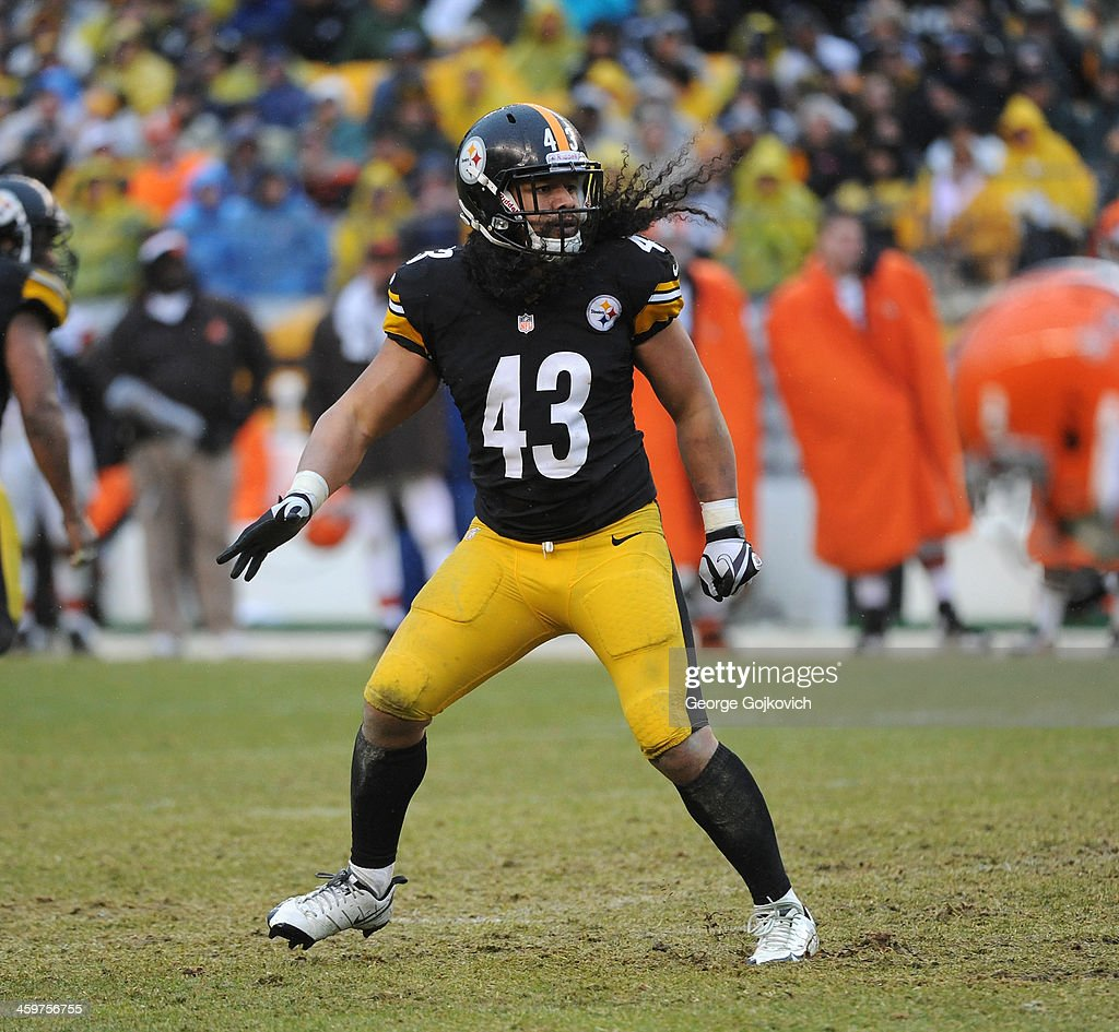 Safety Troy Polamalu #43 of the Pittsburgh Steelers pursues the play during a game against the Cleveland Browns at Heinz Field on December 29, 2013 in Pittsburgh, Pennsylvania. The Steelers defeated the Browns 20-7.