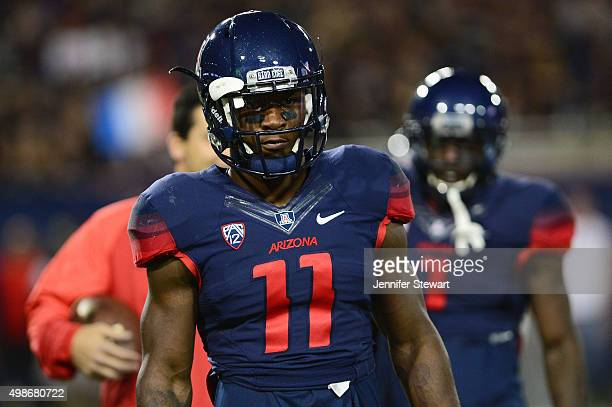 Safety Will Parks of the Arizona Wildcats looks on during warm ups prior to the game against Utah Utes at Arizona Stadium on November 14 2015 in...