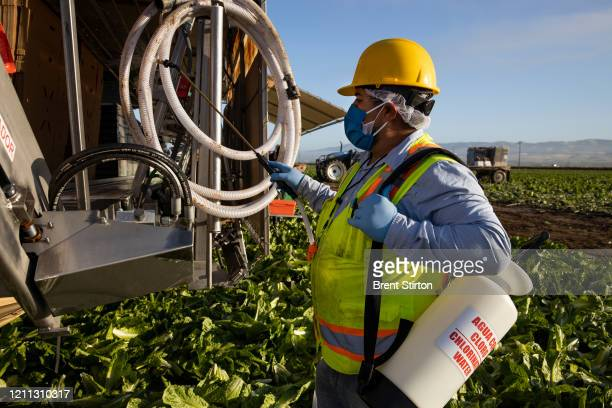 A safety worker sanitizes a harvesting machine in the early morning on April 28 2020 in Greenfield California Fresh Harvest is the one of the largest...