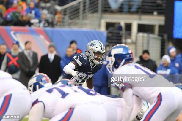 Safety Xavier Woods of the Dallas Cowboys in action against the New York Giants on December 10, 2017 at MetLife Stadium in East Rutherford, New...