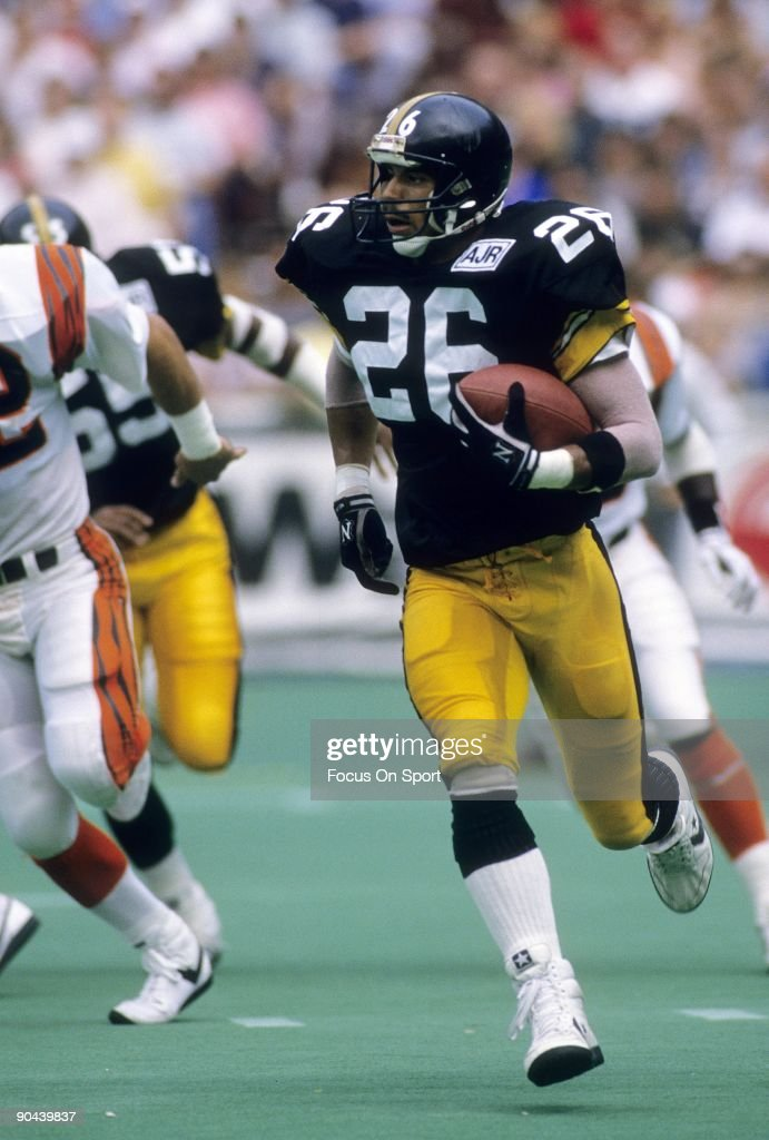 Safety/Cornerback Rod Woodson #26 of the Pittsburgh Steelers returning a punt against the Cincinnati Bengals September 18, 1988 during an NFL football game at Three River Stadium in Pittsburgh, Pennsylvania. Woodson played for the Steelers from 1987-96.
