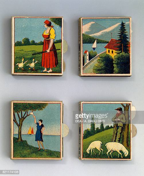 Saffa matchboxes with illustrations of a peasant woman with geese a view of a lake a view of the sea a shepherd with sheep 1920s Italy 20th century...