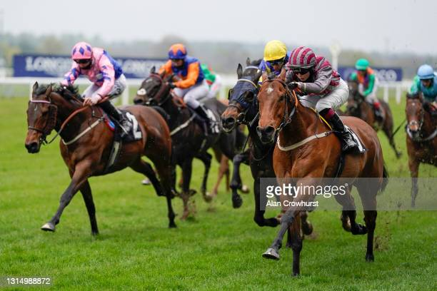 Saffie Osborne riding Pettochside win The Great Racing Welfare Cycle Handicap at Ascot Racecourse on April 28, 2021 in Ascot, England. Sporting...
