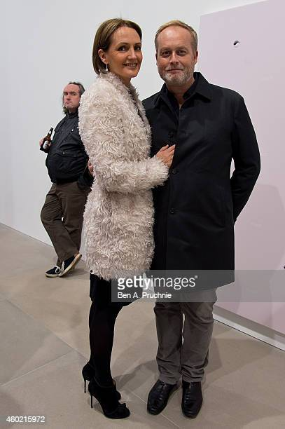 Saffron Aldridge and Ian Wace attends the private view for Refraction The Image Of Sense curated by Peter J Amdam at Blain Southern on December 9...