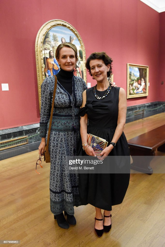 Saffron Aldridge and Melanie Clore attend 'Unexpected View' co-hosted by the National Gallery and Galerie Thaddaeus Ropac on the occasion of Frieze 2017 at The National Gallery on October 5, 2017 in London, England.