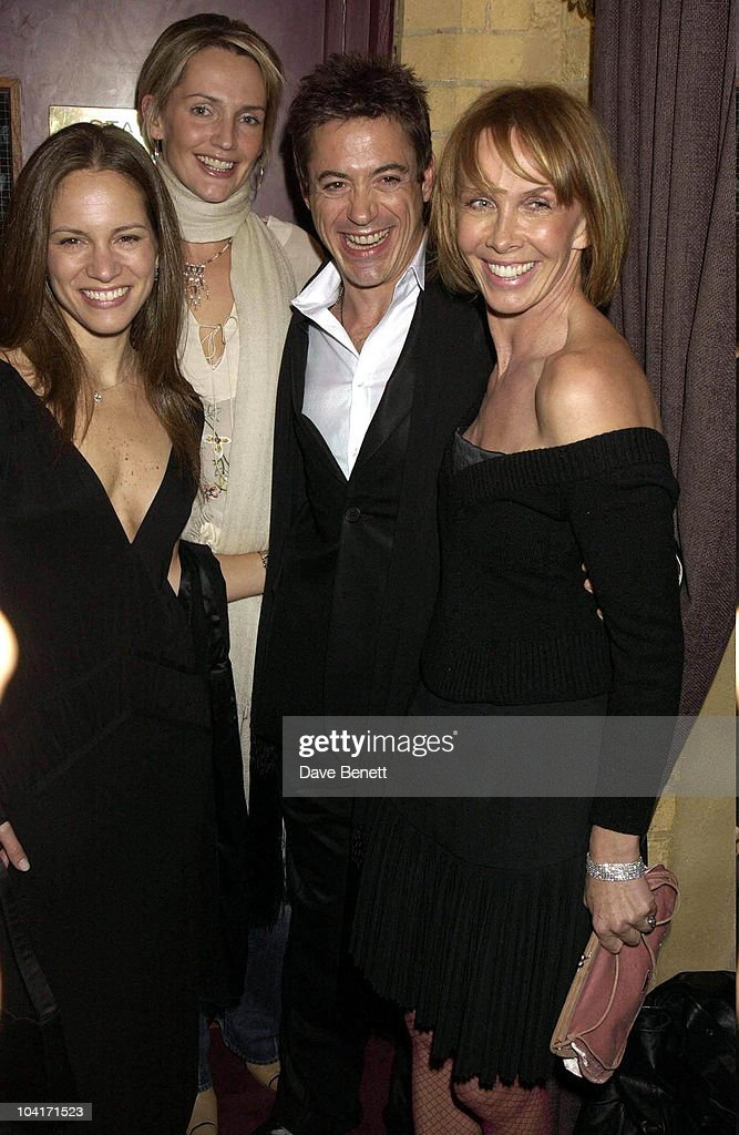 Saffron Aldridge, Trudie Styler, Robert Downey Jr With His New Girlfriend Susan Levin, The Singing Detective Movie Premiere At The Everyman Theatre In Hampstead, London