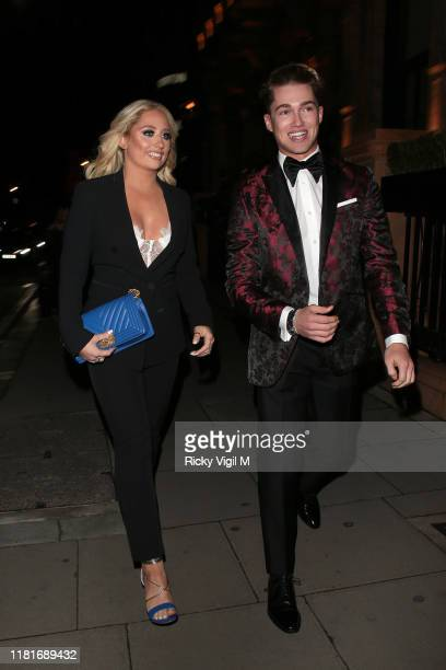 Saffron Barker and AJ Pritchard seen attending The Global Gift Gala London at Kimpton Fitzroy on October 17, 2019 in London, England.