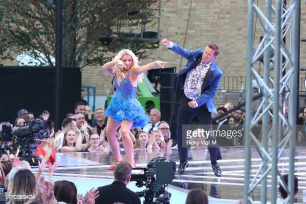 Saffron Barker and Mike Bushell seen at Strictly Come Dancing red carpet launch show - recording at Television Centre on August 26, 2019 in London,...