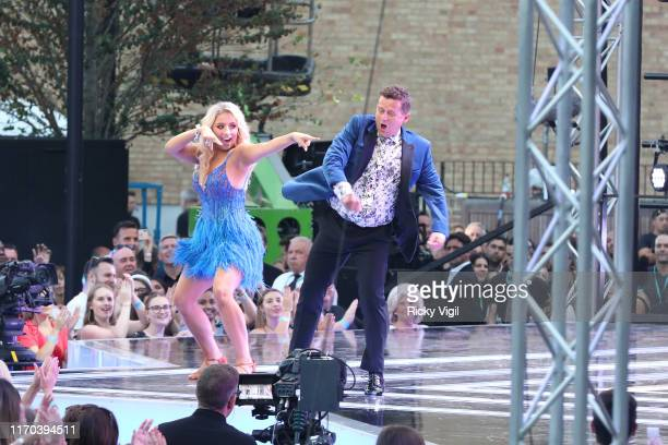 """Saffron Barker and Mike Bushell seen at """"Strictly Come Dancing"""" red carpet launch show - recording at Television Centre on August 26, 2019 in London,..."""